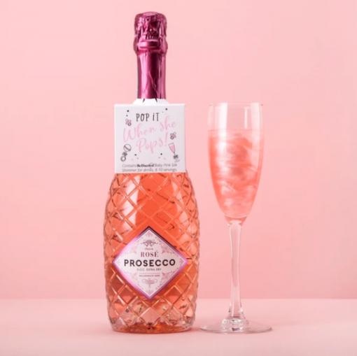'Pop it when she pops' drinks shimmer bottle tag