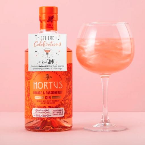 'Let the Celebrations beGIN' drinks shimmer bottle tag