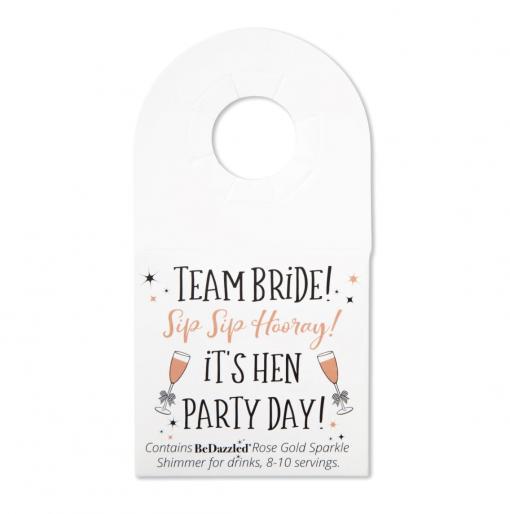 'Sip Sip Hooray! Team Bride' drinks shimmer bottle tag