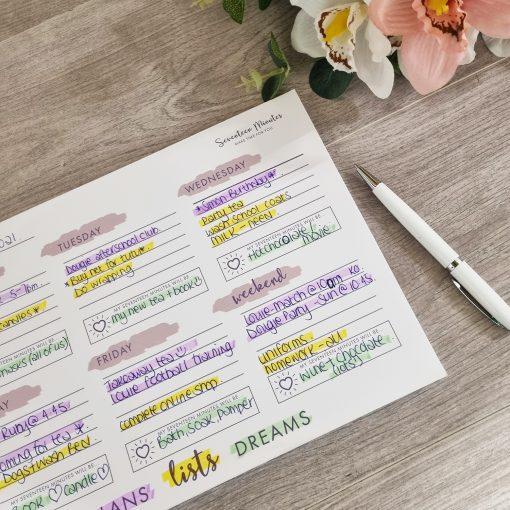 My Seventeen Minute Weekly Planner